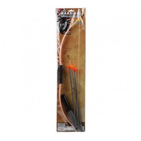 Arco de 64 cm con 3 flechas y cuchillo de Indio