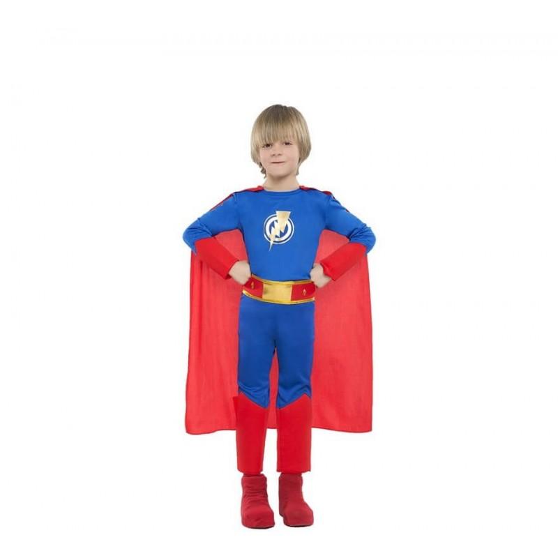 Disfraz de Superhéroe azul y rojo para 3-4 años
