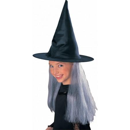 Sombrero bruja niña con pelo.