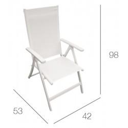 Silla de 5 posiciones en aluminio blanco IBIZA