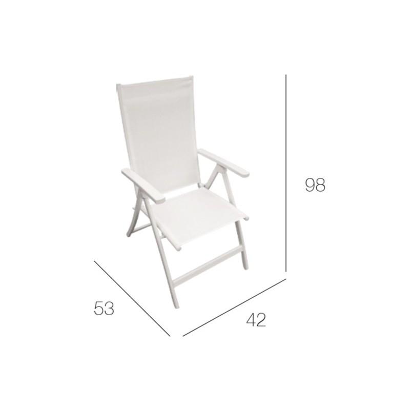 Silla de 5 posiciones en aluminio blanco.