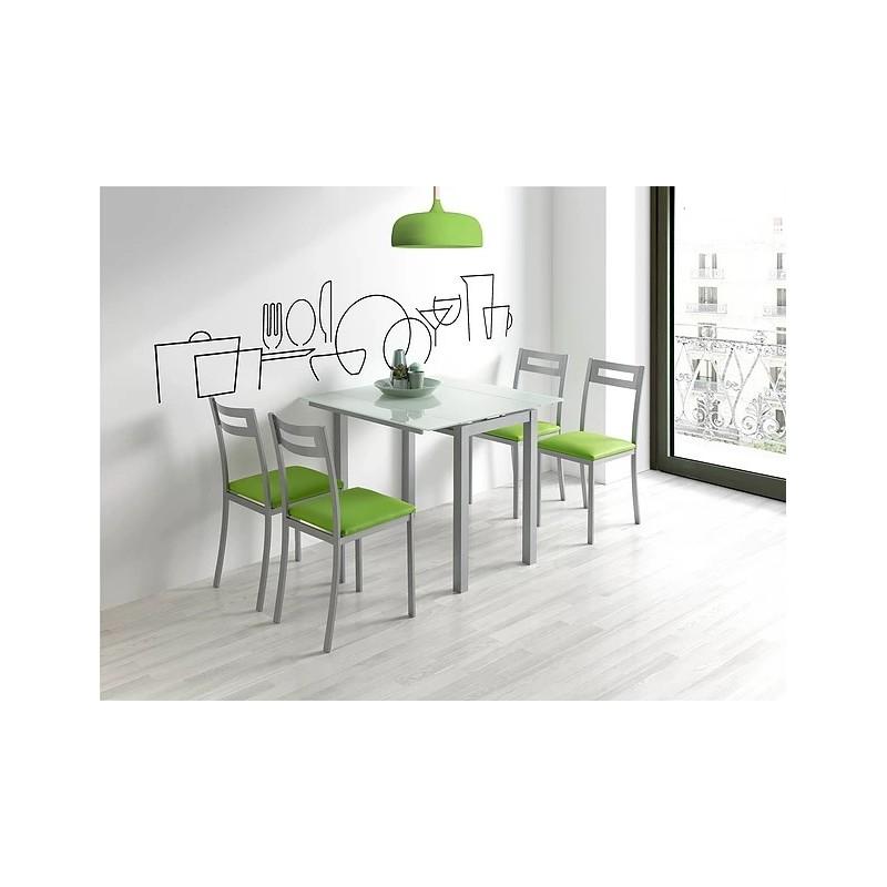 Mesa cocina blanca.