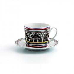 set 6 tazas 22 cl. con platillo porcelana AZTECA
