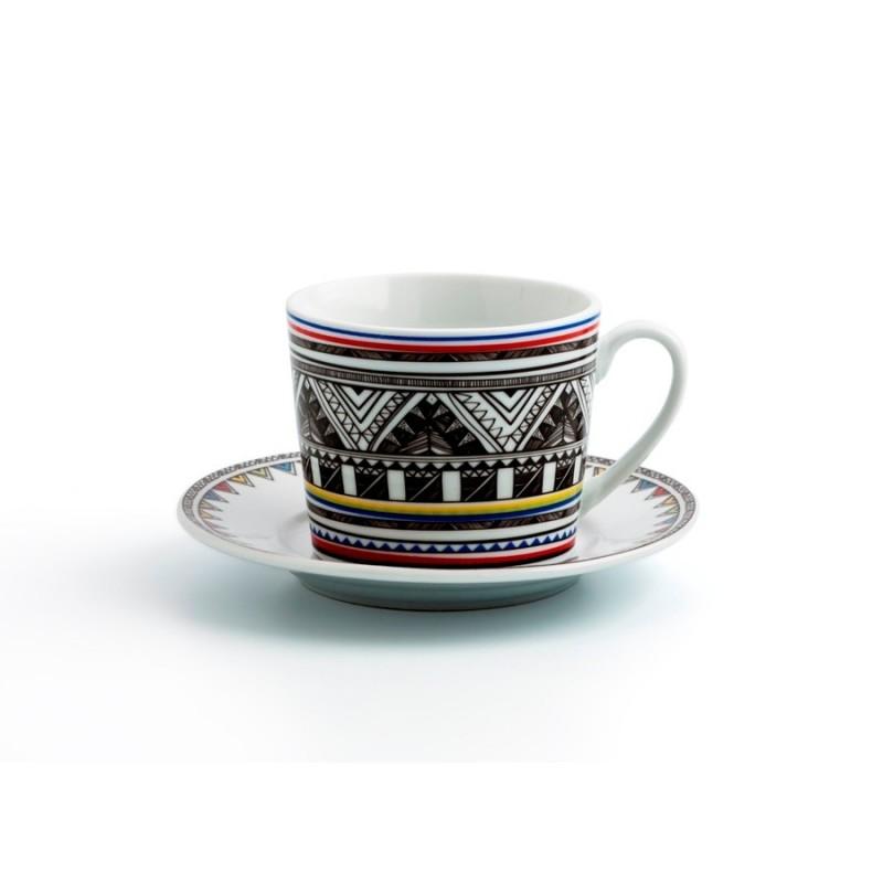 set 6 tazas 22 cl. con platillo porcelana AZTTECA