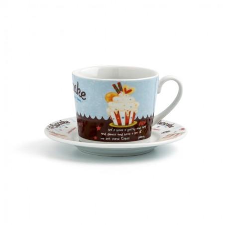 SET 6 TAZAS CAFÉ CON PLATO 22CL PORCELANA RENOVA MUFFIN QUID