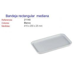 Bandeja rectangular mediana blanca