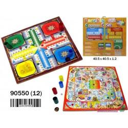 Parchis-oca 4 jugadores con accesorios. Tablero 40 cm.