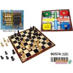 Parchís-ajedrez con accesorios 2 - 4 jugadores, tablero 40 cm.