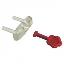 Protector de enchufe con llave extractora. Transparente