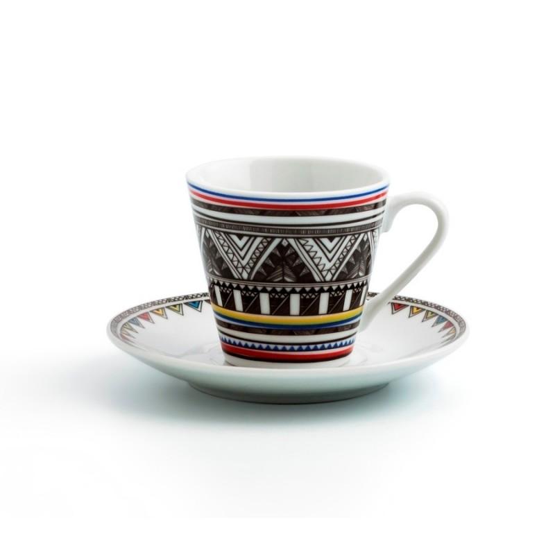 Set 6 tazas 9 cl. porcelana azteca.